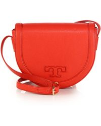 Tory Burch | Serif T Leather Saddle Bag | Lyst