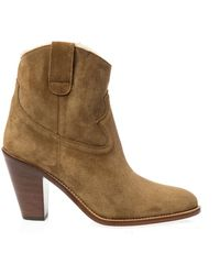 Saint Laurent New Western Suede Ankle Boots - Lyst