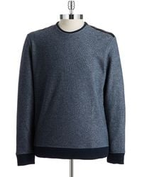 Calvin Klein Faux Leather Accented Crew Sweater - Lyst