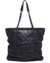 Chanel Pre-owned Black Leather Small Sharpei Tote Bag - Lyst