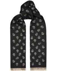 Alexander McQueen Silk and Wool Skull Scarf - Lyst