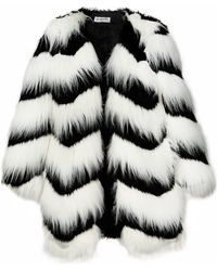 Pixie Market Ziggy Black And White Faux Fur Coat - Lyst