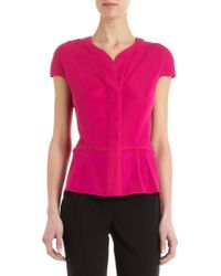 Narciso Rodriguez Cap Sleeve Button Front Blouse - Lyst