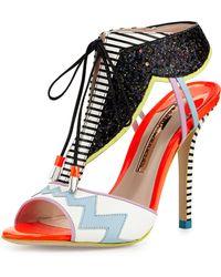 Sophia Webster Leilou Glitter Lace-Up Sandal - Multicolor