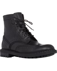 Givenchy Grained Leather Wingtip Boots - Lyst