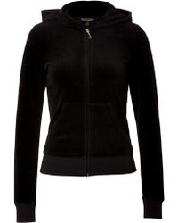 Juicy Couture Velour Floral Embellished Hoodie - Lyst