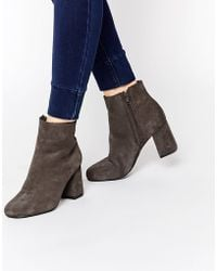 Warehouse Suede Heeled Ankle Boot - Grey - Brown