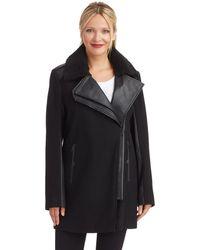 Sam Edelman Fur Trim Asymmetrical Coat - Lyst