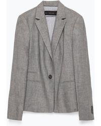 Zara Linen Blazer gray - Lyst