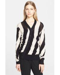Ann Demeulemeester Asymmetrical Stripe Cardigan - Lyst