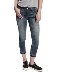 Current/Elliott Crop Straight Leg Jeans - Lyst