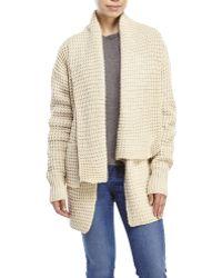 Pol Oversized Waffle Knit Cardigan - Natural