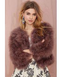 Nasty Gal Carolina Feather Jacket - Purple