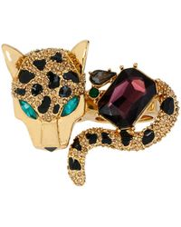 Betsey Johnson - Pave Leopard Two-finger Ring - Lyst