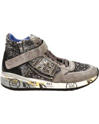 Premiata Sneakers Nicki Ankle Boots Suede and Glitter with Velcro and Zip Details - Lyst