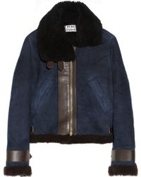 Acne Studios Vera Leather Trimmed Shearling Biker Jacket - Lyst
