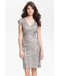 Sue Wong Embroidered V-Neck Sheath Dress - Lyst
