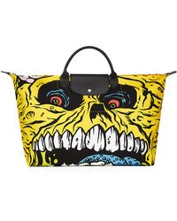 Longchamp - Yellow and Black Canvas Le Pliage Madballs Large Tote Bag - Lyst