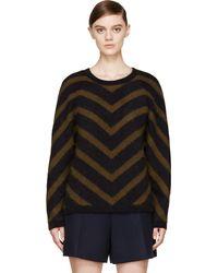 Balmain Olive and Navy Angora Chevron Sweater - Lyst