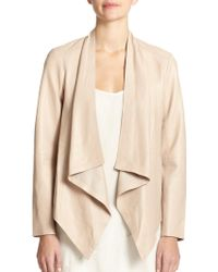 Eileen Fisher Leather Draped-Front Jacket - Lyst