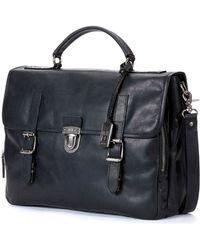 Frye Logan Buckled Briefcase - Black