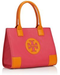 Tory Burch Ella Pebbled Color-Block Mini Tote - Lyst