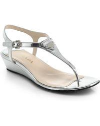 Prada Metallic Leather Wedge Thong Sandals - Lyst