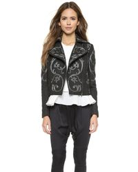 Marchesa Voyage | Embroidered Biker Jacket - Black/Gunmetal | Lyst