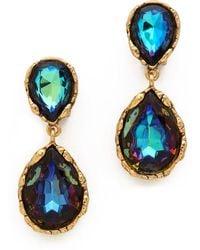 Oscar de la Renta Large Crystal Clip On Earrings - Lyst