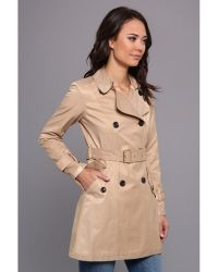 Vince Camuto Double Breasted Shimmer Trench - Lyst