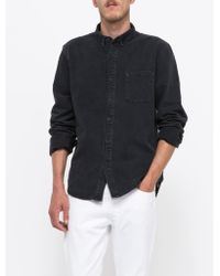Topman Black Denim Washed Button Down black - Lyst