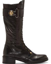 Versus  Black Leather Lace_up Combat Boots - Lyst