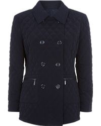 Precis Petite - Quilted Double Breasted Coat - Lyst