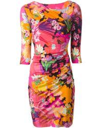 Blumarine Floral Print Fitted Dress - Lyst