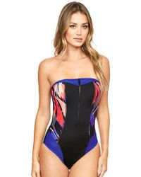 Figleaves - Byron Beach Underwired Bandeau Tummy Control Swimsuit - Lyst
