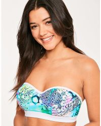 Figleaves Cosmic Underwired Longline Bandeau Bikini Top C-g Cup - Blue