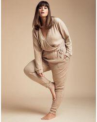 Figleaves Super Soft Lounge Wrap Front Jumpsuit - Natural