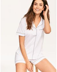 DKNY New Signature Short Sleeved Top & Boxer Pj Set - White