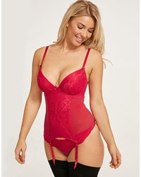 Figleaves Juliette Lace Plunge Basque A-GG - Red