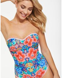 Figleaves Frida Floral Underwired Bandeau Tummy Control Swimsuit B-g Longer Length - Blue