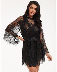 Figleaves Gigi Galloon Lace Robe - Black