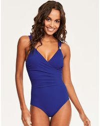 Figleaves Illusion Shaping Swimsuit - Blue