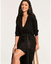 Figleaves Camelia Long Robe - Black