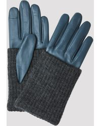 Filippa K Short Wool Rib Gloves - Blue