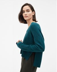 Filippa K - Cropped V-neck Sweater Emerald Melange - Lyst