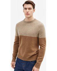 Filippa K - Wool Colour Block Sweater Light Camel - Lyst