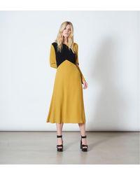 Finery London Gracie Mustard And Black Dress - Yellow