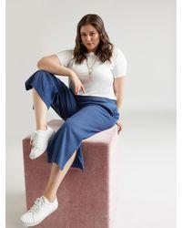 FIORELLA RUBINO Pantaloni cropped in lino e viscosa - Blu