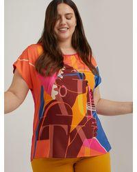 FIORELLA RUBINO T-shirt colorata con stampa viso - Rosa