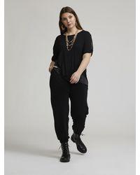 FIORELLA RUBINO Pantaloni in jersey con elastico al fondo - Nero